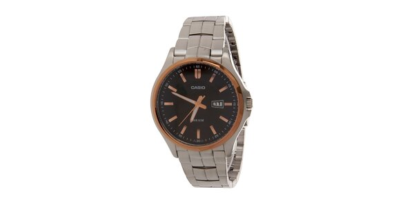 Pánské ocelové náramkové hodinky Casio s černým ciferníkem a zlatými detaily