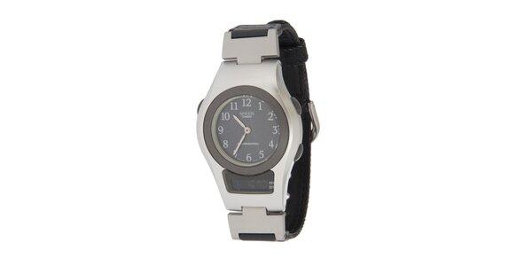 Dámské černo-stříbrné hodinky Casio s kombinovaným ciferníkem