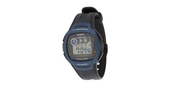 Pánské modro-černé digitální hodinky Casio s černým pryžovým řemínkem