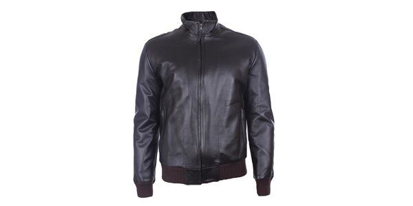 Pánská černá kožená bunda Pietro Filipi