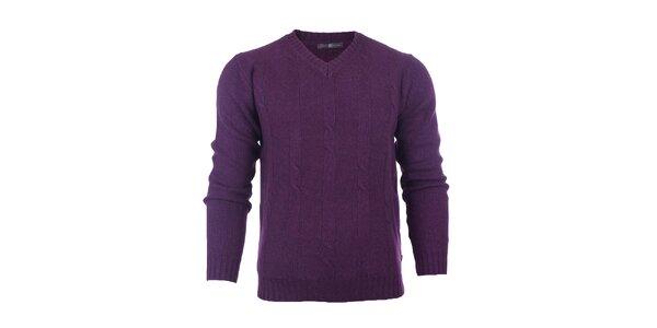 Pánský fialový svetr s loketními nášivkami Pietro Filipi