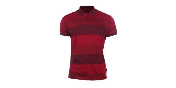 Pánské červené polo triko s pruhy Pietro Filipi
