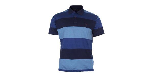 Pánské modré polo triko s pruhy Pietro Filipi