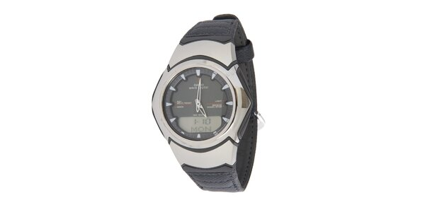 Pánské ocelové hodinky Casio s černým koženým řemínkem