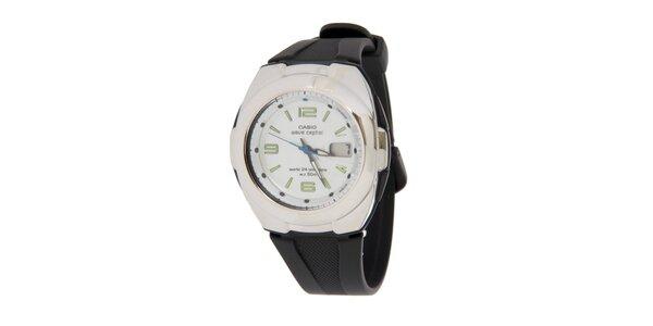 Pánské ocelové hodinky Casio s černým pryžovým řemínkem
