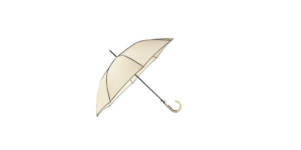 Elegantní dámský deštník Ferré Milano ve vanilkově žluté barvě s černými lemy.