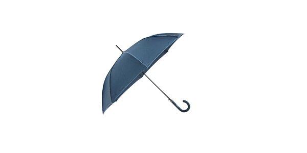Klasický dámský deštník Ferré Milano v tmavě modré barvě se světle modrými lemy