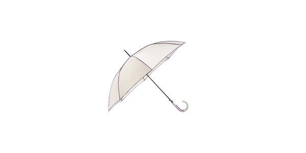 Klasický dámský deštník Ferré Milano ve světle šedé barvě s fialovými lemy