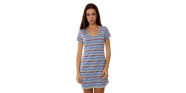 Dámská pestrobarevná proužkovaná noční košile Calvin Klein