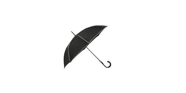 Elegantní deštník Ferré Milano v klasické černé barvě s kontrastními bílými lemy