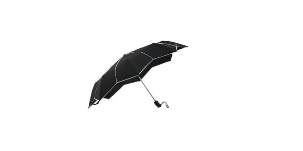 Černý dámský skládací deštník Ferré Milano s netradičně vykrojenými okraji do…