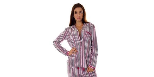Dámský růžovo-fialový proužkovaný pyžamový kabátek Calvin Klein