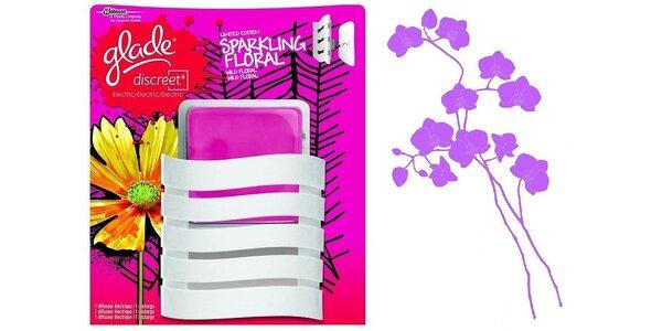 Glade Discreet Electric Sparkling floral 8g + dekorativní samolepka na stěnu