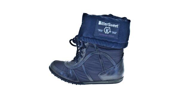 Dámské modré ohrnovací zimní boty Bitter Sweet