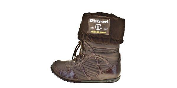 Dámské hnědé ohrnovací zimní boty Bitter Sweet