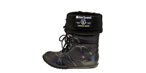 Dámské černé ohrnovací zimní boty Bitter Sweet