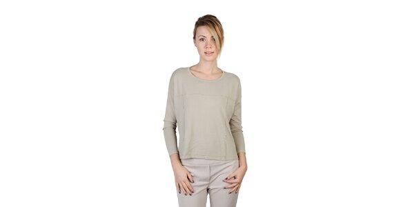 Dámské béžové tričko s dlouhým rukávem Bonavita