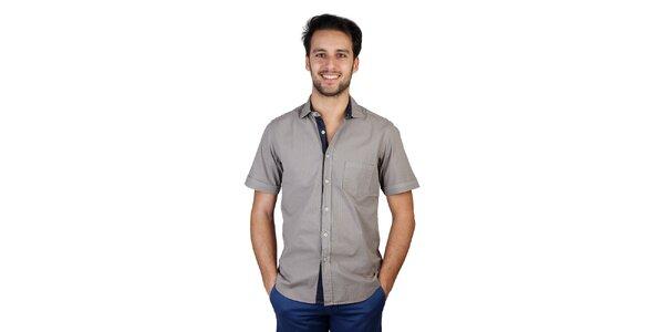 Pánská šedá košile s kontrastní légou Bonavita
