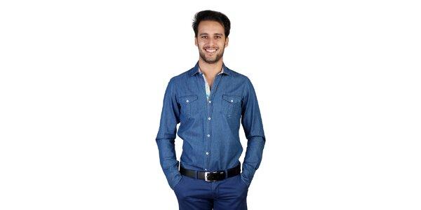 Pánská džínová košile s dlouhými rukávy Bonavita
