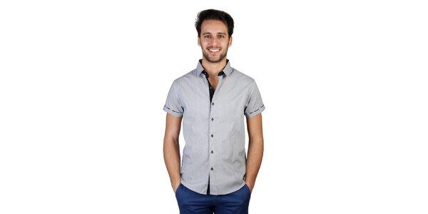 Pánská šedá košile s kostkovanými detaily Bonavita