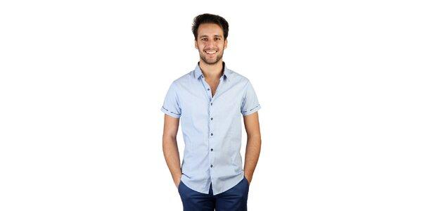 Pánská světle modrá košile s kostkovanými detaily Bonavita