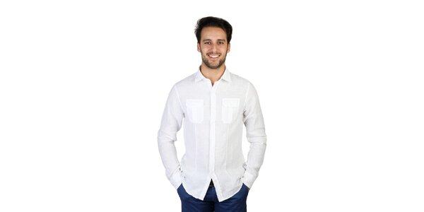 Pánská bílá lněná košile s kapsičkami Bonavita