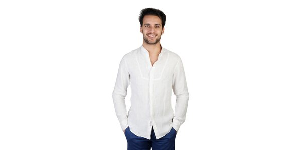 Pánská krémová lněná košile Bonavita