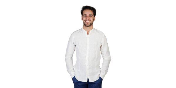 Pánská krémová lněná košile s dlouhým rukávem Bonavita