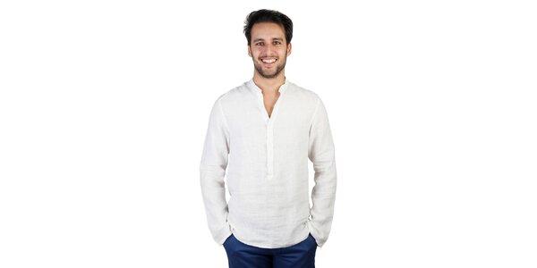 Pánská bílá polopropínací lněná košile Bonavita
