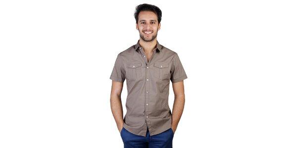 Pánská hnědá košile s krátkým rukávem Bonavita