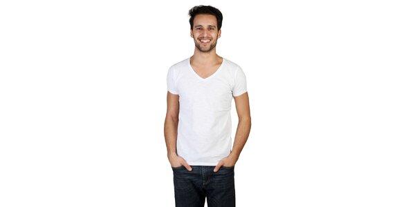 Pánské bílé tričko s véčkovým výstřihem Bonavita