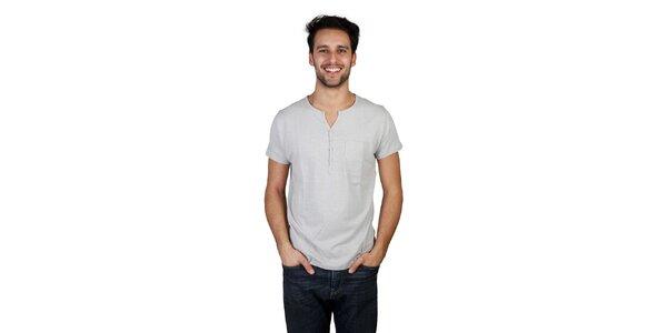 Pánské šedé tričko s knoflíčky Bonavita