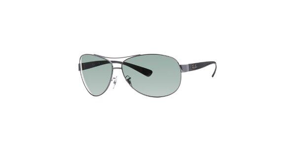 Ocelově šedé sluneční brýle Ray-Ban se zelenými skly
