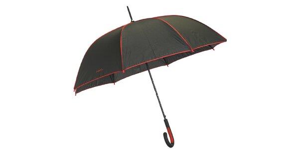 Dámský černý deštník s červenými lemy Ferré Milano