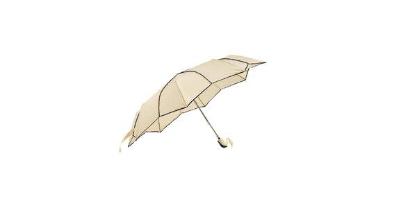 Vanilkově žlutý skládací deštník Ferré Milano s netradičně vykrojenými okraji…