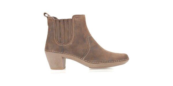Dámské hnědé kožené boty Clarks