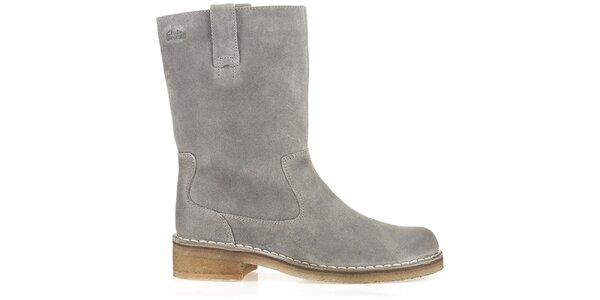 Dámské šedé kožené boty Clarks