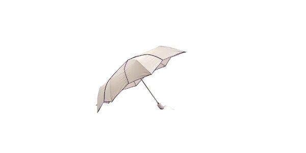 Světle šedý skládací deštník Ferré Milano s netradičně vykrojenými okraji do…