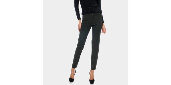 Dámské antracitové rovné kalhoty s puky ODM Fashion