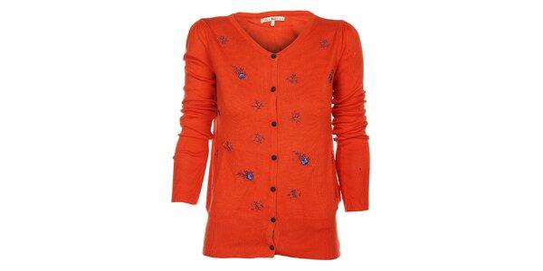 Dámský oranžový kardigan Uttam Boutique s modrou výšivkou