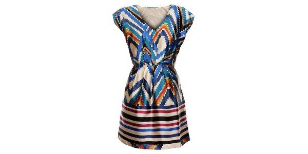 Dámské krémové šaty Uttam Boutique s indiánským vzorem