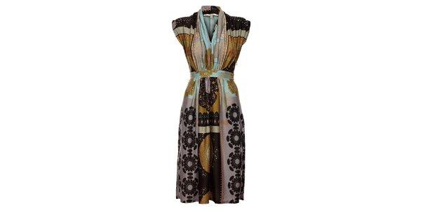 Dámské světle hnědé šaty Uttam Boutique s potiskem