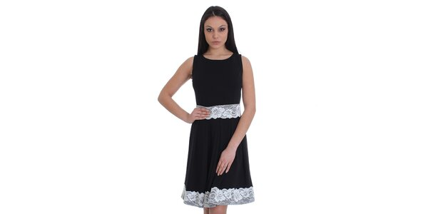 Dámské černé šaty s bílou krajkou SforStyle