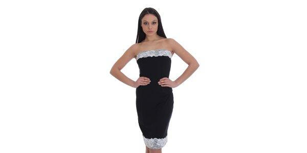 Dámské černé pouzdrové šaty s bílou krajkou SforStyle