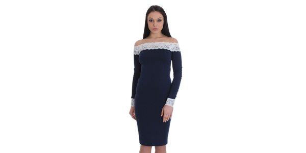 Dámské tmavě modré šaty s bílou krajkou SforStyle