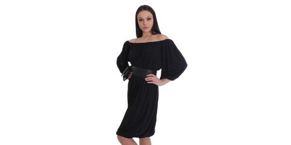 Dámské černé nařasené šaty s páskem SforStyle