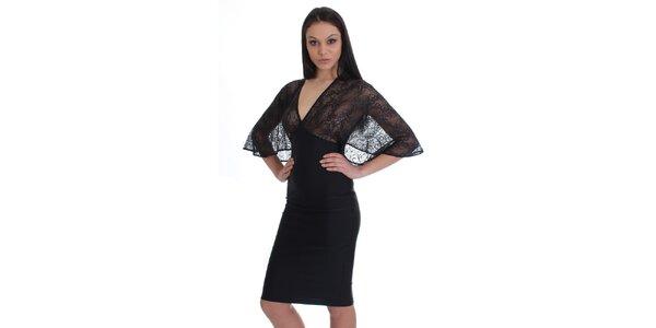 Dámské černé šaty s krajkovým vrškem SforStyle
