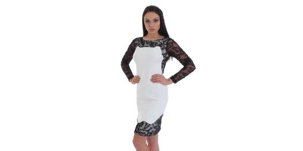 Dámské bílé pouzdrové šaty s černou krajkou SforStyle
