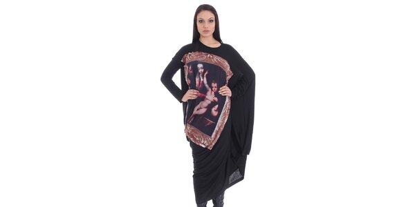 Dámské černé šaty s potiskem SforStyle