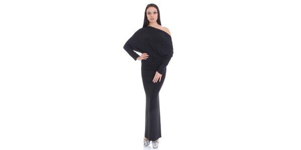 Dámské černé dlouhé šaty SforStyle